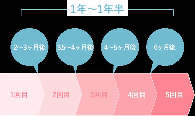 ミセルクリニック大阪梅田院の1年〜1年半の照射スケジュール画像